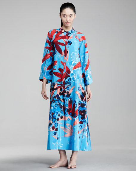 Floral-Print Zip Caftan
