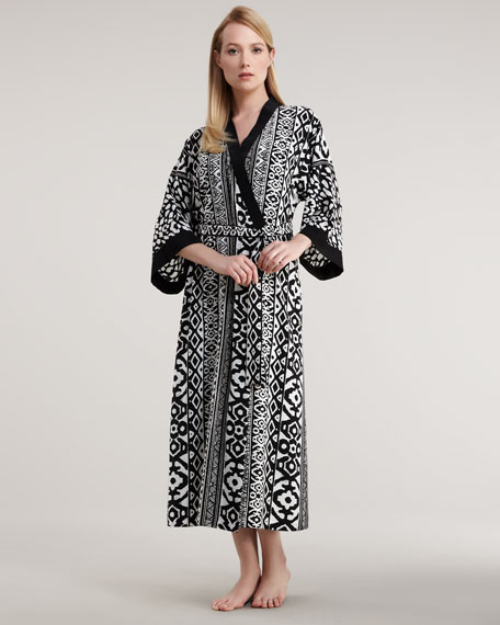 Long Modern Geometric-Print Robe