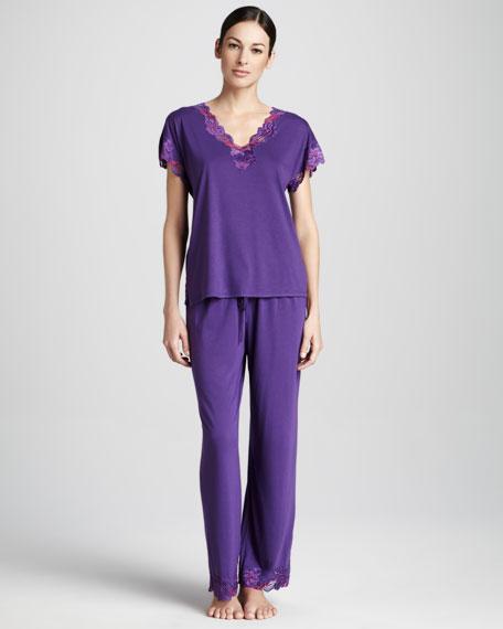Zen Floral-Trim Jersey Pajamas