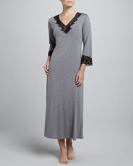 Lhasa Jersey Lounge Gown, Heather Gray