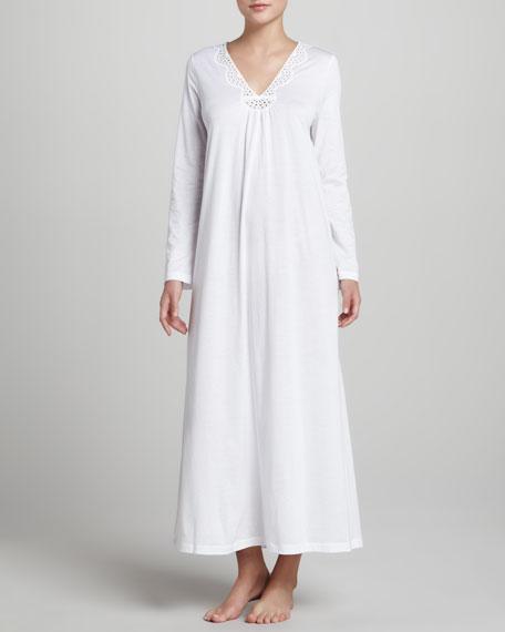Gwen Eyelet Long Gown, White