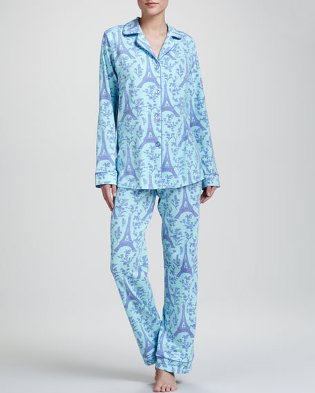 Eiffel Tower-Print Sateen Pajamas