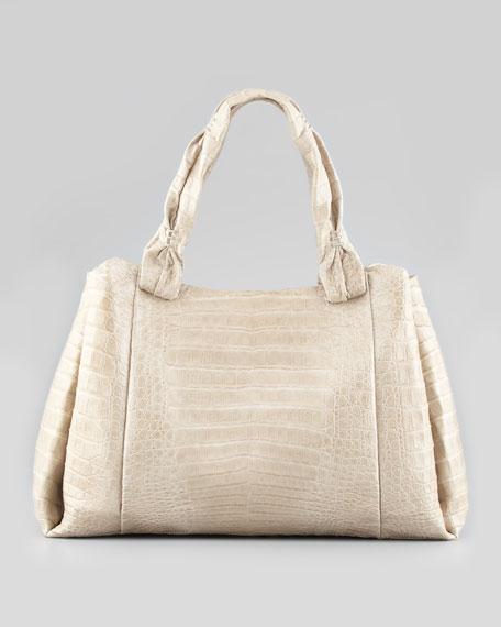 Pinched-Strap Crocodile Tote Bag, Stone