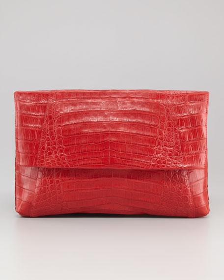 Crocodile Fold-Over Clutch Bag, Red