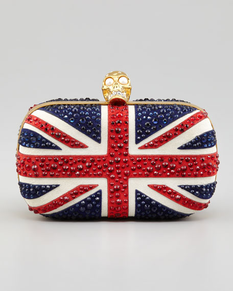 Britannia Skull-Clasp Clutch Bag, Multi