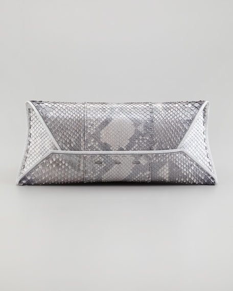 Manila Stretch Python Clutch Bag, Gray