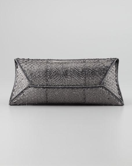 Metallic Python Manila Clutch Bag, Gunmetal
