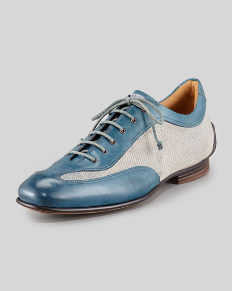Linen-Leather Bicolor Sneaker
