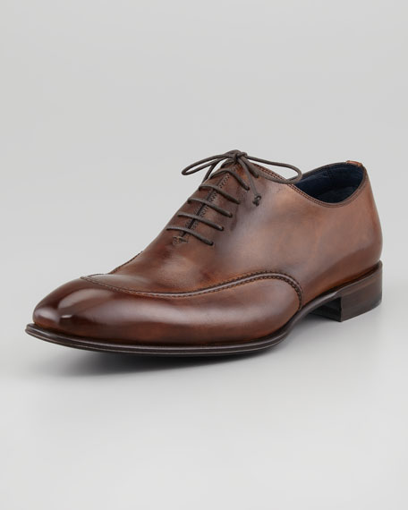 Apron-Toe Lace-Up, Brown