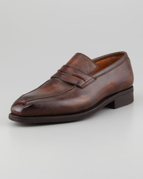 Capitano Apron-Toe Grained Slip-On Penny Loafer, Choco