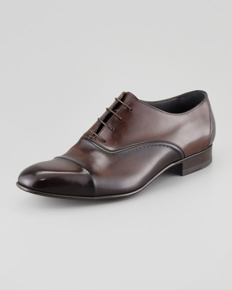Torsade Cap-Toe Oxford Loafer, Dark Brown