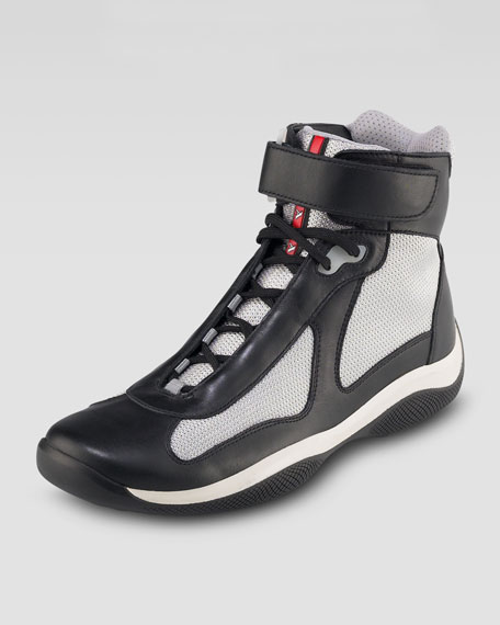 High-Top Leather Sneaker, Black/Silver