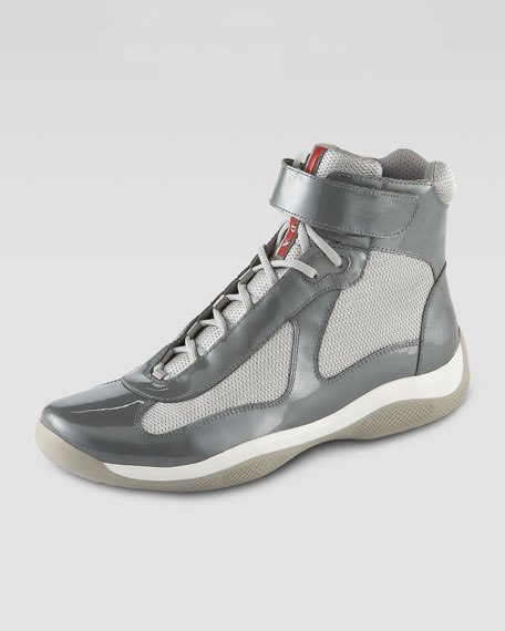 High-Top Patent Sneaker, Gray