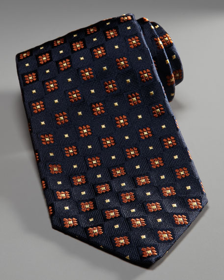 Flower & Square Tie, Blue