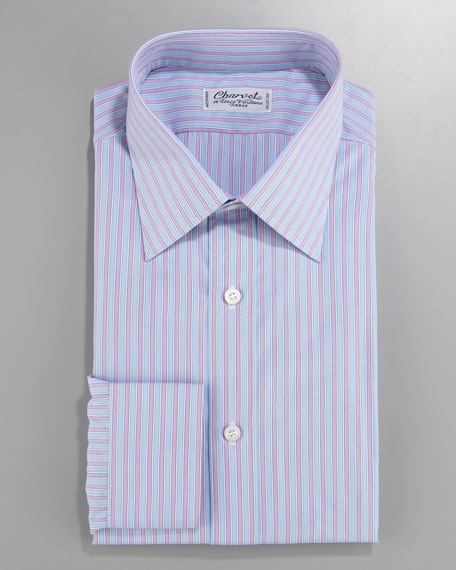 Striped Dress Shirt, Blue/Pink