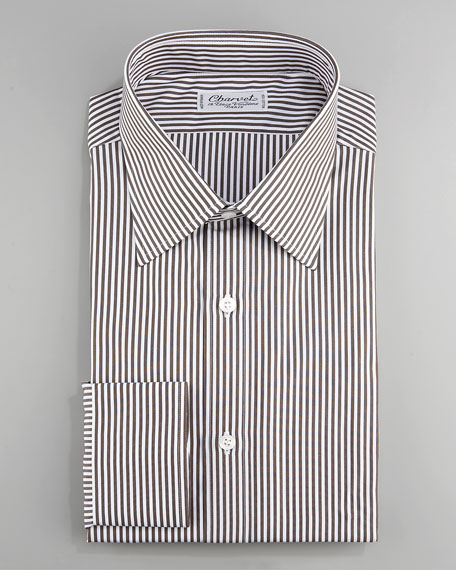 Striped Dress Shirt, Brown
