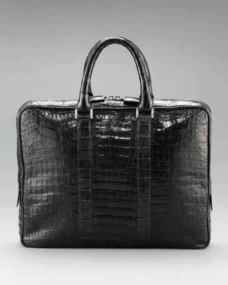 Slim Crocodile Briefcase, Black