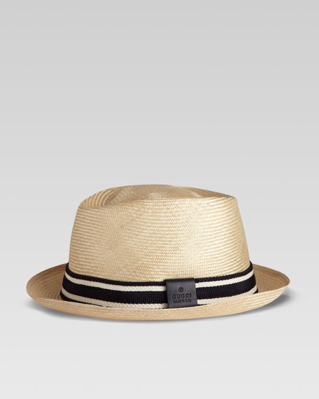 Straw Web Fedora, Blue/Off-White