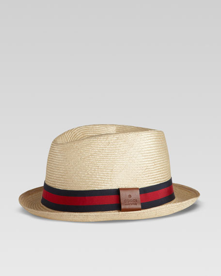 Straw Web Fedora, Blue/Red
