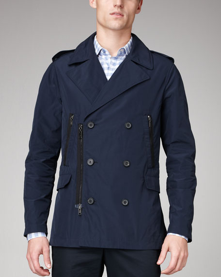 Zip-Detail Pea Coat