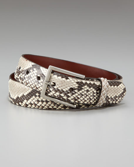 Glazed Python Belt, Black/White