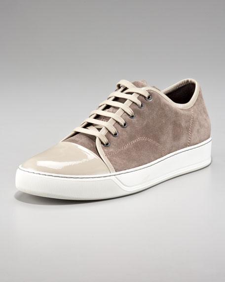 Patent-Toe Suede Sneaker, Beige