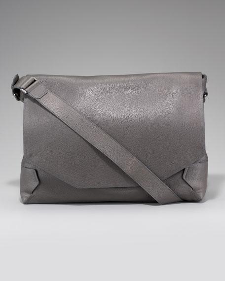 Grained Leather Messenger Bag
