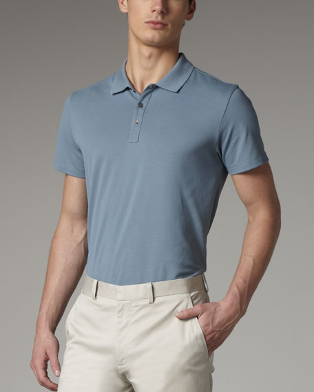 Classic Pique-Knit Polo, Light Nile