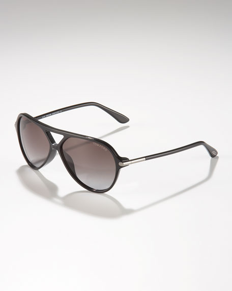Leopold Plastic Aviator Sunglasses, Shiny Black