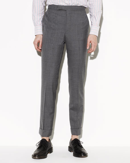 120s Wool Trousers, Medium Gray