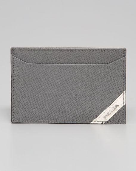 Saffiano Striped Card Case, Gray/White