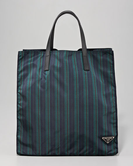 Zip Tote Bag, Green Stripe