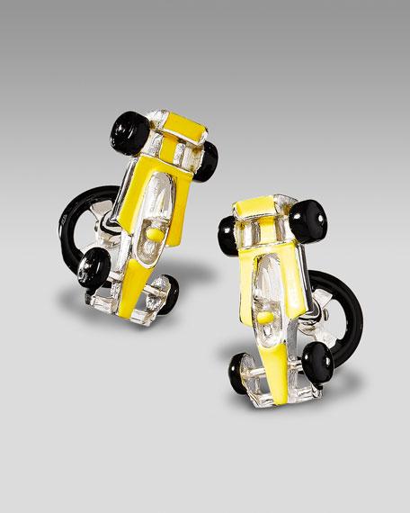 Race Car Cuff Links, Yellow