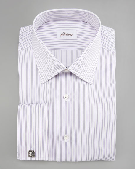 Striped Dress Shirt, Purple/White