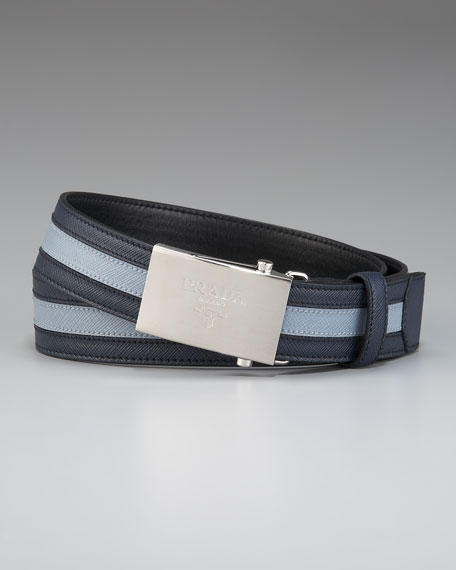 Saffiano Stripe Belt, Blue/Light Blue