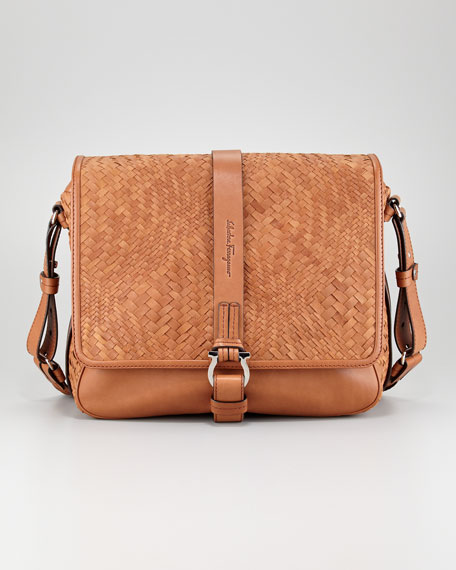 Woven Leather Messenger Bag