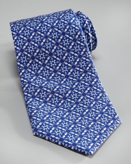 Fish & Anchor Tie, Blue