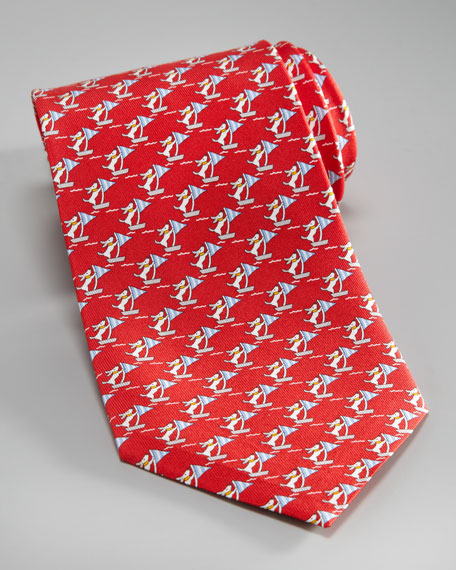 Sailing Dogs Tie, Red