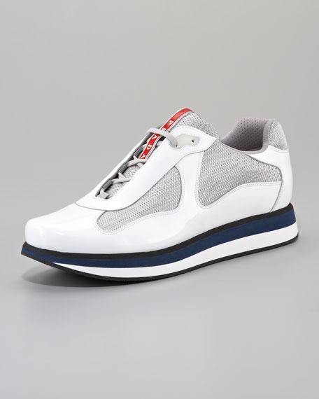 America's Cup Sneaker, White/Silver