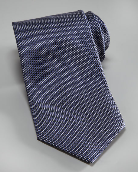 Textured Neat Silk Tie, Blue