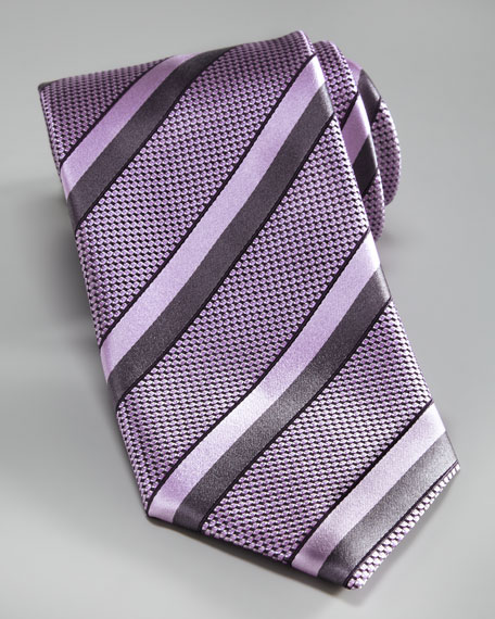 Textured Fancy-Stripe Silk Tie, Purple
