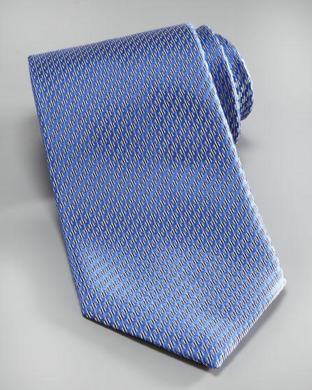 Wavy Circles Silk Tie, Blue