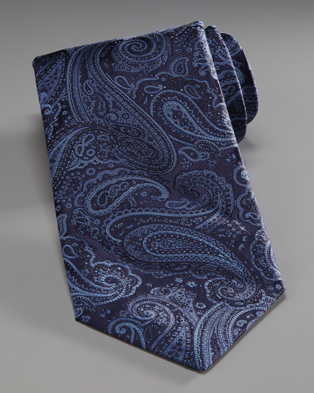 Paisley Silk Tie, Black/Blue
