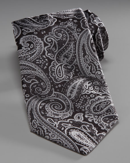 Paisley Silk Tie, Black/Gray