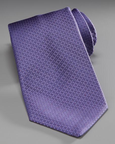 Grid Silk Tie, Purple