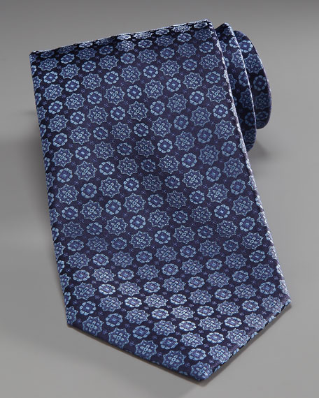 Medallion Silk Tie, Navy