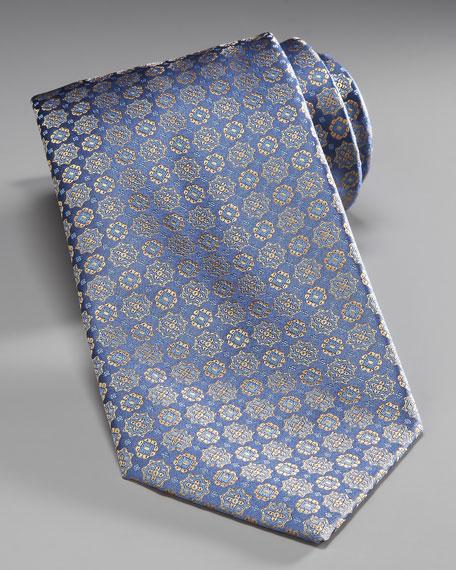 Medallion Silk Tie, Blue/Yellow