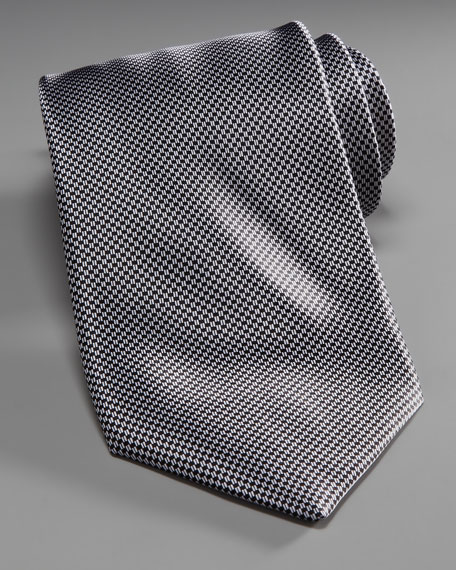 Mini-Houndstooth Silk Tie, Gray