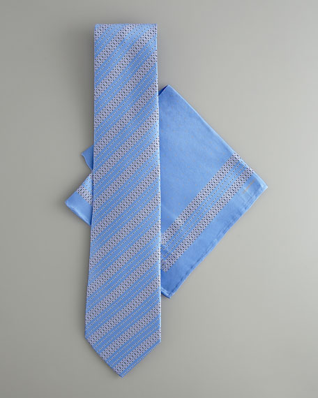 Striped Silk Tie & Pocket Square Set, Blue