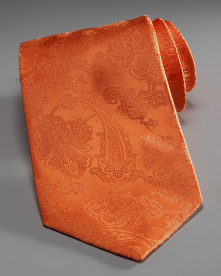 Tonal Paisley Silk Tie, Orange